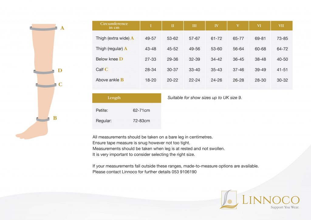 Medi Thigh Length Compression Stocking Measurement Chart